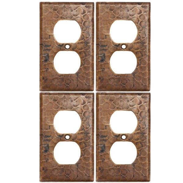 Premier Copper Products Copper Single Duplex -  2 Hole Outlet Cover - 4 PK