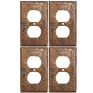 Premier Copper Products Copper Single Duplex -  2 Hole Outlet Cover - 4 PK