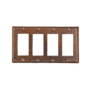 Premier Copper Products Quadruple  Wall Plate - Ground Fault/Rocker GFI - Copper