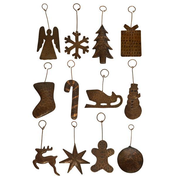 Ornements de Noël en cuivre, assortiment de 12
