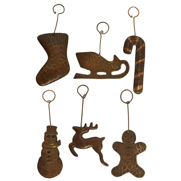 Ornements de Noël en cuivre, assortiment de 6