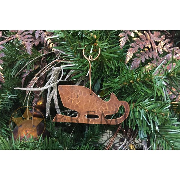 Premier Copper Products Copper Sleigh Christmas Ornament - 6 PK