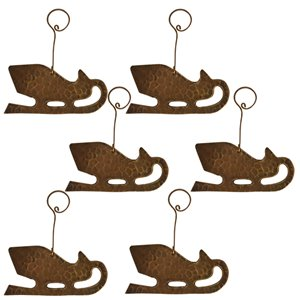 Premier Copper Products Copper Sleigh Christmas Ornament - 6 PK