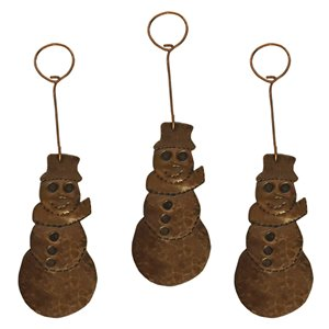 Premier Copper Products Copper Snowman Christmas Ornament - 3 PK