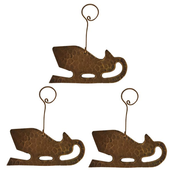 Premier Copper Products Copper Sleigh Christmas Ornament - 3 PK