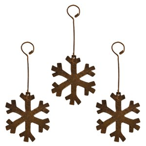 Ornement de Noël en cuivre, flocon de neige, 3 pqt