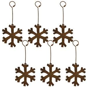 Ornement de Noël en cuivre, flocon de neige, 6 pqt