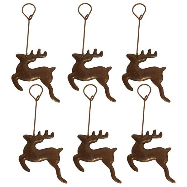 Premier Copper Products Copper Reindeer Christmas Ornament -  6 PK