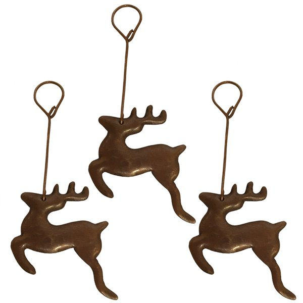 Premier Copper Products Copper Reindeer Christmas Ornament - 3 PK