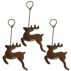 Ornement de Noël en cuivre, renne - 3 pqt