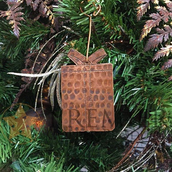 Premier Copper Products Copper Present Christmas Ornament - 3 PK