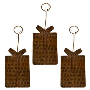 Premier Copper Products Copper Present Christmas Ornament - 3 PK