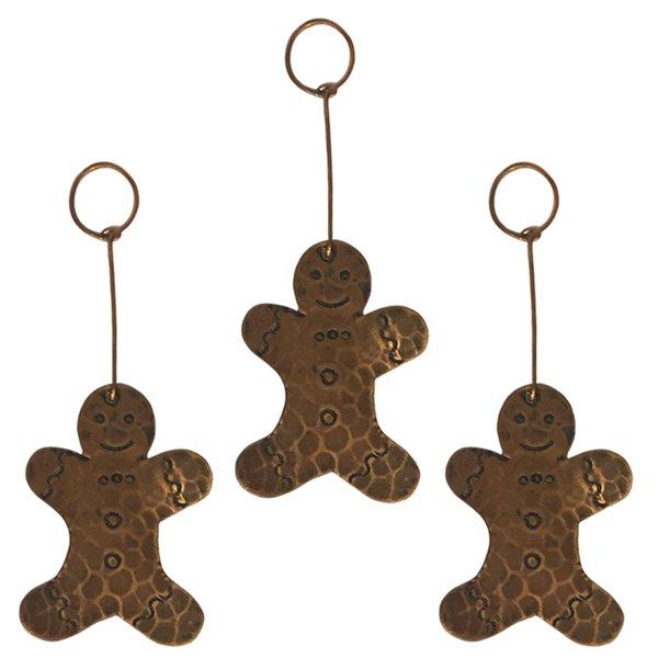 Premier Copper Products Copper Gingerbread Christmas Ornament - 3 PK