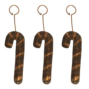 Premier Copper Products Copper Candy Cane Christmas Ornament - 3 PK