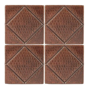 Premier Copper Products Copper Tiles - 4-in x 4-in - 4 PK