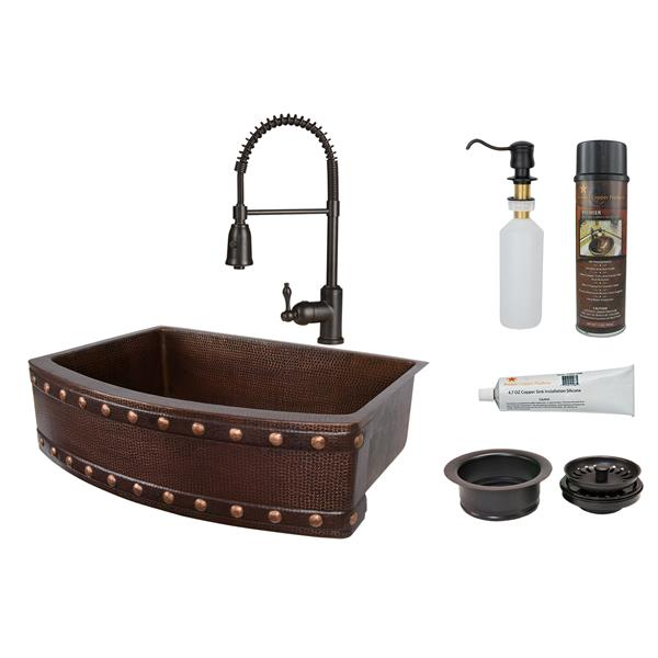 Copper Sink with Faucet & Drain - 30""