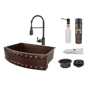 Copper Sink with Faucet & Drain - 30