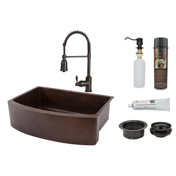 Premier Copper Products Copper Kitchen Sink with Faucet and Drain - 30-in