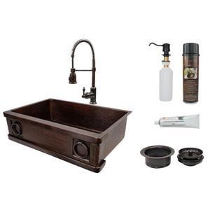 Évier en cuivre avec robinet à resort, 33