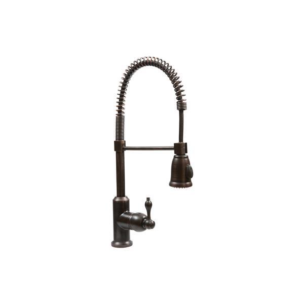 """Évier en cuivre avec robinet à resort, 33"""""""