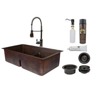 Premier Copper Products Copper Kitchen Sink with Faucet and Drain - 33""