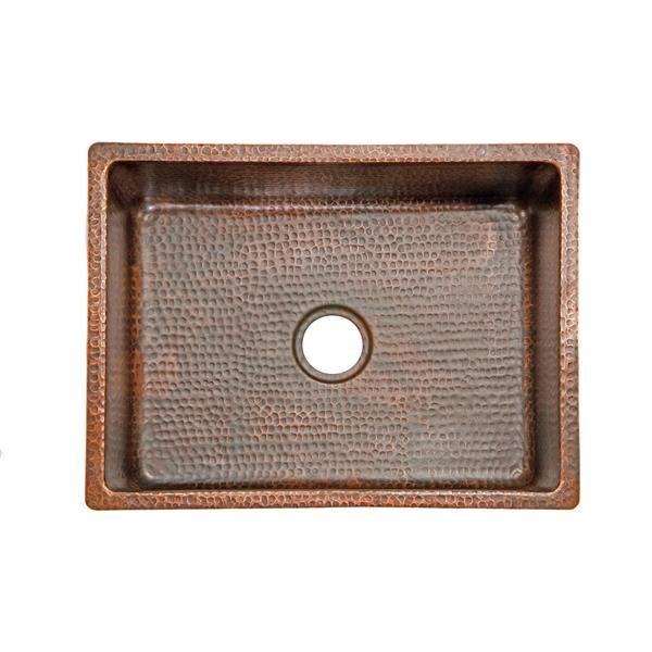 Copper Kitchen Sink with Drain and Accessories - 25""