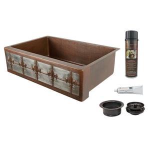 Premier Copper Products Fleur De Lis Sink with Drain - 33-in - Copper/Nickel