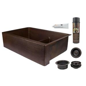 Premier Copper Products Copper Kitchen Sink with Drain - 33""