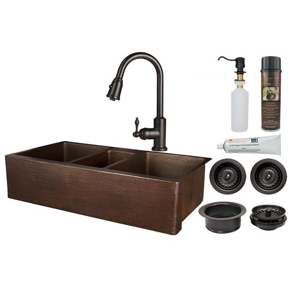 """Évier en cuivre avec robinet et drain, 42"""""""