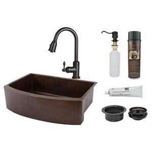 """Évier en cuivre avec robinet et drain, 30"""""""