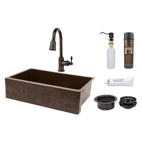 """Évier en cuivre avec robinet et drain, 35"""""""
