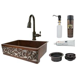 Premier Copper Products Sink with Faucet and Drain - 33-in - Copper/Nickel
