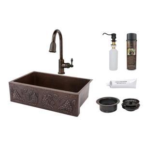 Évier en cuivre avec robinet et drain, 33