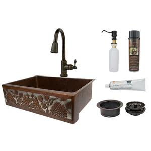 "Évier campagnard avec robinet et drain, 33"", cuivre/nickel"