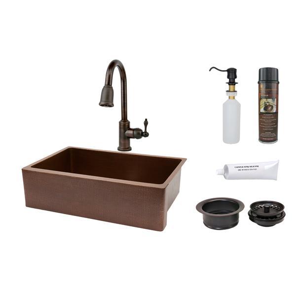 """Évier rétro avec robinet et drain, 33"""", cuivre"""