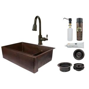 Copper Sink with Faucet and Drain - 33