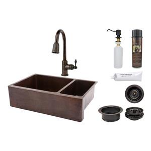 Copper Kitchen Sink with Faucet and Drain - 33