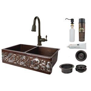 """Évier en cuivre avec robinet et drain, 33"""""""
