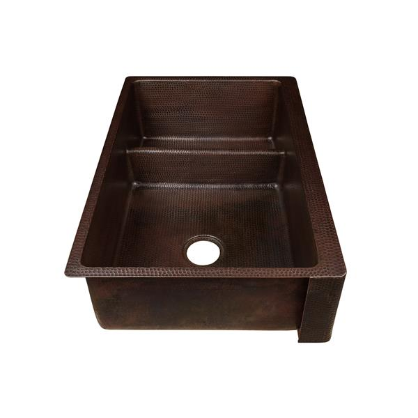 Premier Copper Products Copper Farmhouse Sink with Divider - 33-in