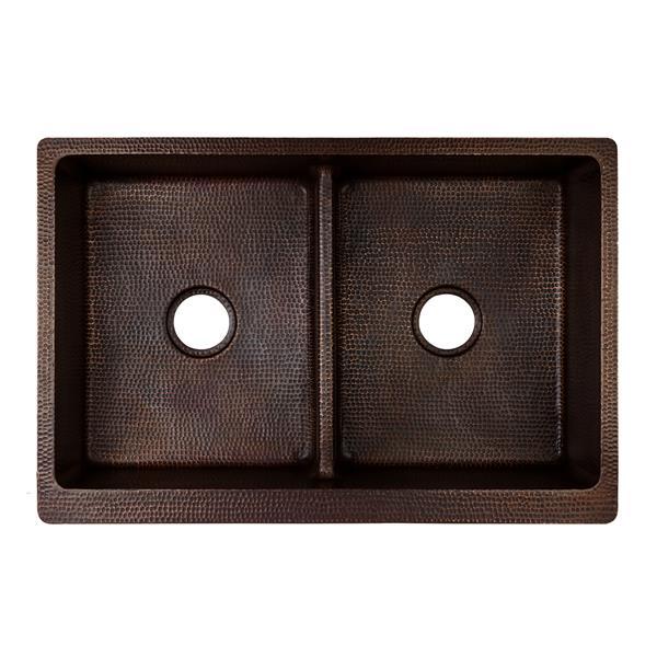 Évier de cuisine double Premier Copper en cuivre, 33 po