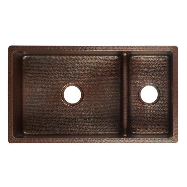 """Évier double en cuivre avec diviseur, 33"""""""
