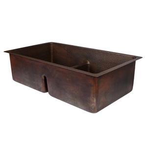Évier en cuivre avec diviseur, 33