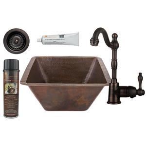 Évier carré en cuivre avec robinet et drain, 17