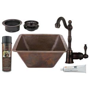 Évier en cuivre carré avec robinet et drain, 17