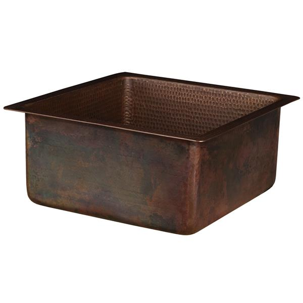 Premier Copper Products Square Copper Sink with Faucet and Strainer Drain - 16-in