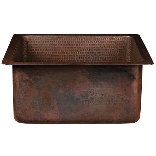 """Évier carré en cuivre avec robinet et drain, 16"""""""