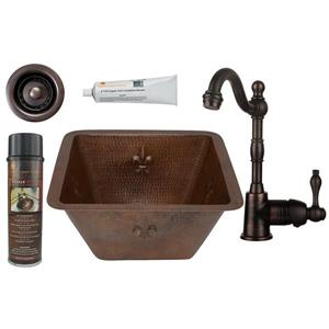 Square Copper Sink with Faucet and Drain - 15