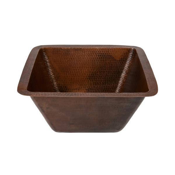 """Évier carré en cuivre avec robinet et drain, 15"""""""