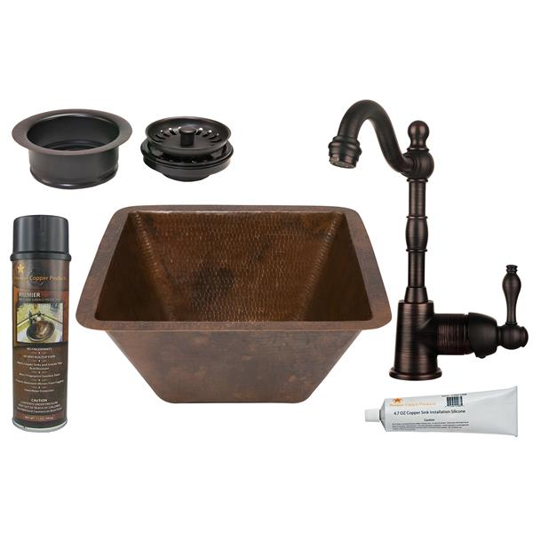 Premier Copper Products Square Copper Sink with Faucet and Drain - 15-in