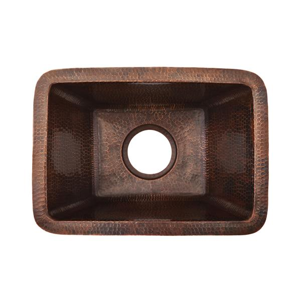 Premier Copper Products Rectangular Copper Sink with Faucet and Drain - 17-in